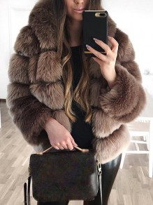 Brown Fur Long Sleeve Fashion Outerwear