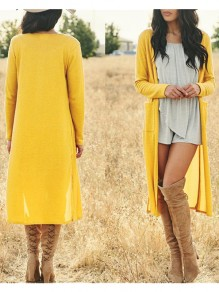 Yellow Pockets Slit Long Sleeve Cardigan Oversize Casual Coat