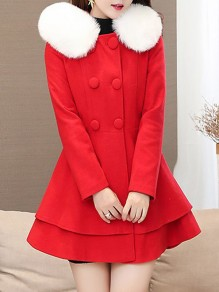 Red Patchwork Fur Pockets Bow Ruffle Double Breasted Long Sleeve Elegant Hooded Woolen Coat