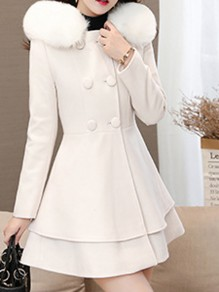 White Pockets Bow Ruffle Peplum Fur Collar Double Breasted Hooded Long Sleeve Elegant Coat