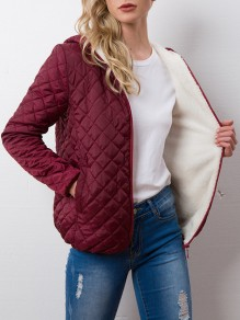 Wine Red Pockets Hooded Long Sleeve Casual Coat