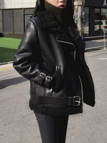 Black Pockets Zipper Belt Suede Faux Fur Lining Teddy Fashion Biker Jacket Coat