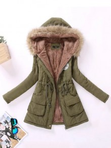 Army Green Drawstring Pockets Hooded Casual Outerwear