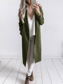 Green Turndown Collar Long Sleeve Going out Coat