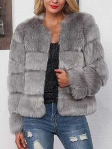Grey Faux Fur Round Neck Long Sleeve Fashion Coat