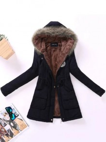 Black Pockets Zipper Drawstring Hooded Long Sleeve Padded Coat