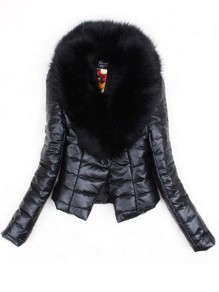 Black Patchwork Buttons Leather Fur Collar Fashion Outerwear
