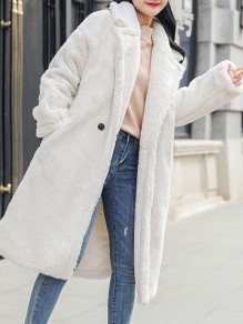 White Fur Pockets Buttons Turndown Collar Long Sleeve Elegant Coat