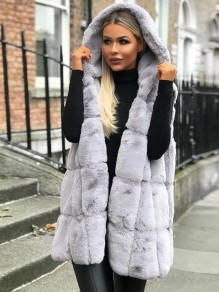 Grey Plain Faux Fur Sleeveless Going out Cardigan Coat