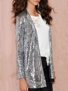 Silver Patchwork Sequin Glitter Sparkly Tailored Collar Fashion Club Homecoming Party Blazer Outerwear