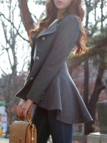 Grey Peplum Single Breasted Long Sleeve Elegant Going out Formal Coat Outerwear