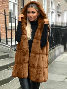 Brown Bubble Faux Fur Sleeveless Oversize Hooded Casual Vest Coat