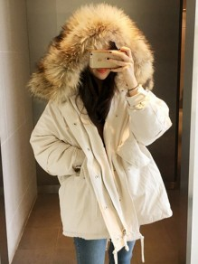 Apricot Patchwork Pockets Single Breasted Drawstring Fur Zipper Hooded Long Sleeve Casual Coat