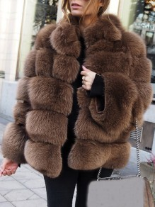 Braun Faux Fur Langarm Winter Warme Fellimitat Pelzmantel Felljacke Damen Mode