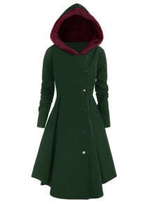 Green Burgundy Fur Single Breasted Plus Size Hooded Long Sleeve Going out Coat