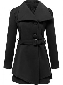 Black Patchwork Belt Buttons Turndown Collar Fashion Outerwear