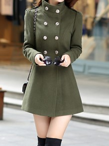 Green Pockets Double Breasted Peplum High Neck Long Sleeve Fashion Wool Coat Outerwear