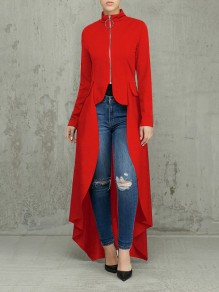 Red Pleated Zipper Pockets High-Low Long Sleeve Casual Outerwear