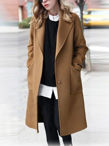 Camel Pockets Buttons Turndown Collar Long Sleeve Elegant Wool Coat