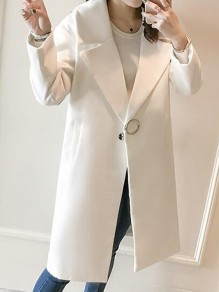 White Pockets Buttons Turndown Collar Long Sleeve Elegant Coat