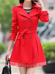 Red Patchwork Lace Pockets Buttons Sashes Bow Double Breasted Turndown Collar Long Sleeve Elegant Coat