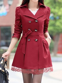 Wine Red Patchwork Lace Pockets Buttons Sashes Bow Double Breasted Turndown Collar Long Sleeve Elegant Coat