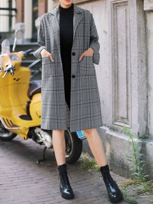 Grey Plaid Single Breasted Pockets Tailored Collar Long Sleeve Fashion Trench Coat