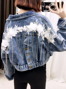 Blue Patchwork Floral Embroidery Tassel Chain Turndown Collar Fashion Casual Denim Jean Jacket Outerwear