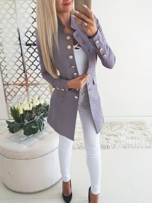Grey Pockets Buttons Studded Ladies Single Breasted Band Collar Long Sleeve Elegant Coat