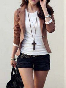 Coffee Buttons Tailored Collar Long Sleeve Fashion Blazer