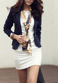 Navy Blue Buttons Tailored Collar Long Sleeve Fashion Blazer