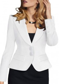 Blazer boutons breasted collier de décollage profond v-col blanc