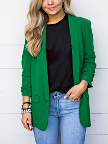 Green Pockets Plus Size Long Sleeve Tailored Collar Casual Office Worker Fashion Blazers