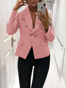 Pink Buttons Tailored Collar V-neck Long Sleeve Fashion Casual Work Blazer