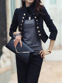 Black Pockets Buttons Studded Double Breasted Band Collar Long Sleeve Elegant Blazer
