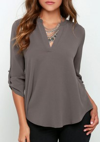 Grey Plain Buttons V-neck Long Sleeve Casual Blouse
