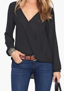 Black Plain V-neck Casual Chiffon Blouse