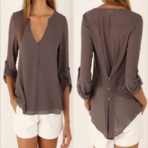 Coffee Plain Irregular V-neck Long Sleeve Fashion Blouse