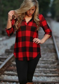 Red Plaid Print Irregular V-neck Long Sleeve Cotton Casual Blouse