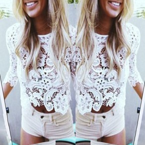 White Plain Hollow-out Lace Round Neck Blouse