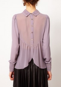 Purple Plain Embroidery Draped Back Single Breasted Peter Pan Collar Elegant Blouse