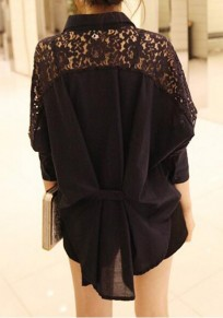 Black Patchwork Buttons Lace Hollow-out Turndown Collar Casual Blouse