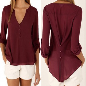 Dark Red Plain Buttons High-low Deep V 3/4 Sleeve Casual Blouse