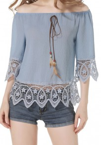 Sky Blue Patchwork Lace Hollow-out Wavy Edge Off Shoulder 3/4 Sleeve Blouse