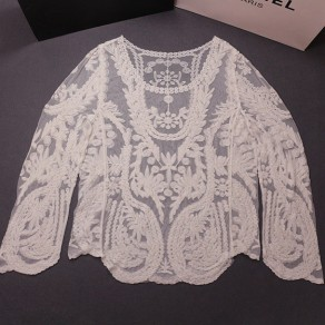 White Lace Hollow-out Round Neck Long Sleeve Loose Outerwear