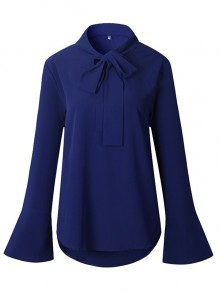 Royal Blue Cut Out Lace-up Bowknot Draped Ruffle V-neck Elegant Comfy Blouse