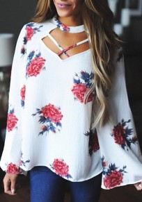 White Floral Cut Out V-neck Long Sleeve Fashion Blouse