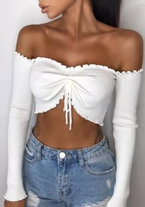 White Drawstring Crop Boat Neck Long Sleeve Fashion Blouse