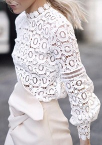 White Lace Flowers Band Collar Long Sleeve Fashion Blouse