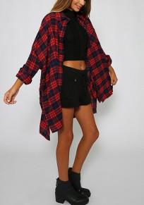 Chemise longue à carreaux manches longues oversize lâche mode femme blouse rouge